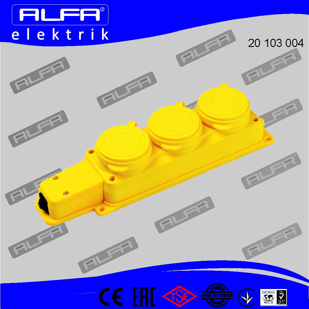 20 103 004	-	3-Gang  Rubber Extension Socket (Yellow)