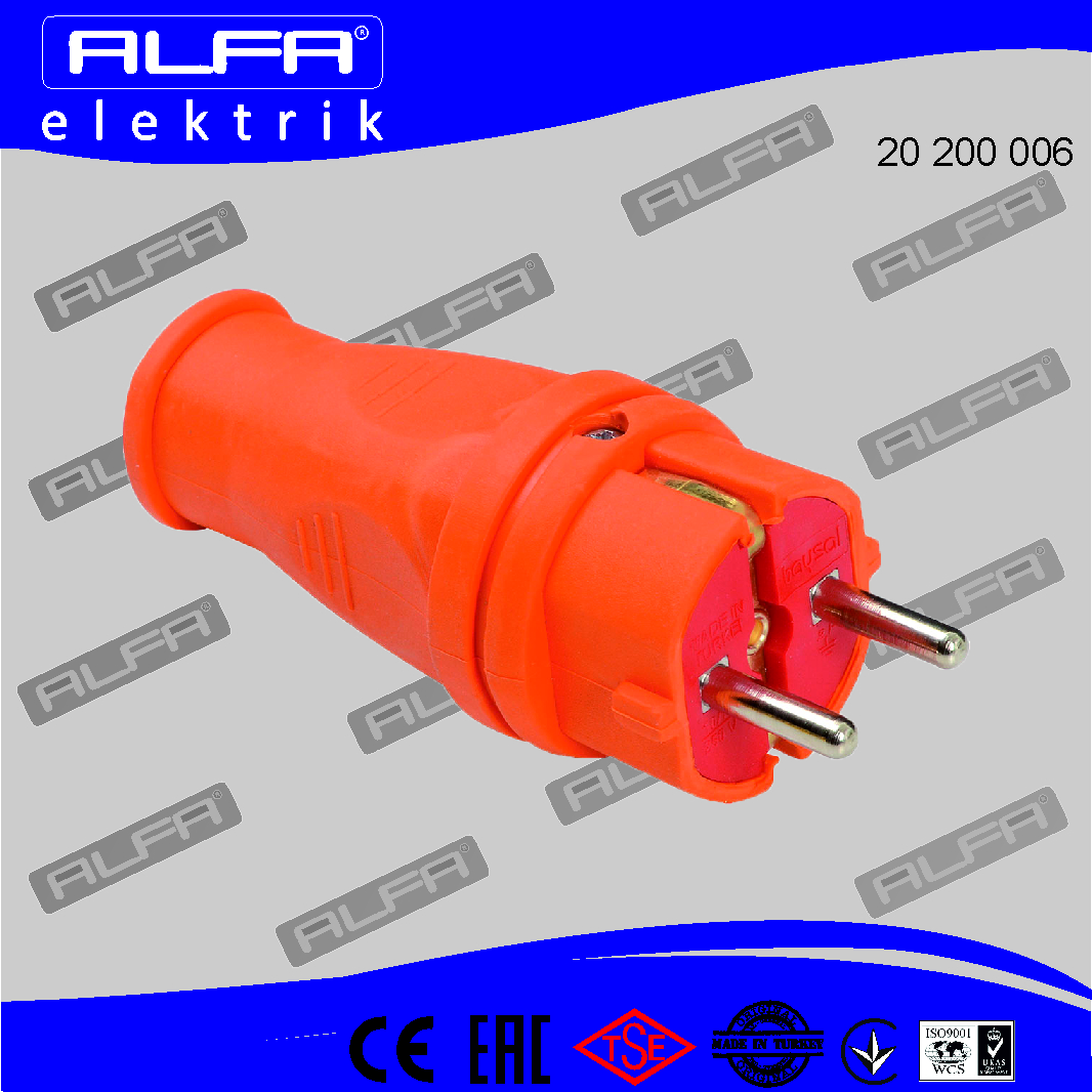 20 200 006	-	Earthed Rubber Male Plug (Orange)